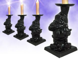 Dark Gnome Black Gothic Ceramic Candle Stick / Holder UK